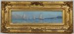 """CARLOS BALIESTER. """"Marinha com barcos"""", óleo s/madeira, 12 x 46 cm. Assinado no CID, localizado e datado . Rio 1909. Emoldurado, 29 x 64 cm."""
