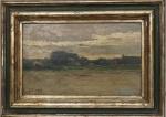 """G.COLBERT. """"Paisagem"""", óleo s/madeira, 20 x 33 cm. Assinado no CIE. Emoldurado, 34 x 47 cm."""