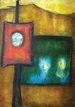 """JOSÉ DE DOME . """"Rostos na Janela"""", óleo s/tela, 81 x 116 cm. Assinado e datado, 1965. Emoldurado, 130 x 96 cm."""