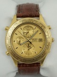 Relógio Seiko Quartz World Timer, dourado, mostrador com dia do mês.