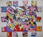 """DANIEL AZULAY - """"Funny Faces III """", acrílica s/Tela, med 70 x 70cm, 2009. Preço de avaliação R$ 3.500,00"""
