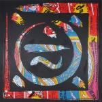 """DANIEL AZULAY -"""" Graphogos """" Acrílica s/Tela, 100 x 100cm, reproduzida na página 99 do Livro A PORTA,  assinado e datado 2005. Preço de avaliação R$ 3.500,00"""