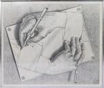 """MC.ESCHER - """" Drawing Hands """" Med. 50 x 58cm , reprodução emoldurada c/ vidro. Preço de avaliação R$ 400,00"""