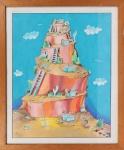 DANIEL AZULAY- Desenho original p/ Revista Manchete, em bico de pena,  década de 70  , emoldurado c/ vidro , medindo 47 x 39,5 cm. Preço de avaliação R$ 600,00