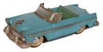 Carrinho de coleção, conversível azul, em  metal, anos 50, medindo 19x8x6 cm ( marcas de tempo). Preço de avaliação R$ 500,00