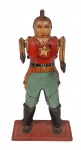 Antigo brinquedo, xerife, em metal, medindo 20 cm de altura. Preço de avaliação R$ 500,00