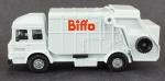 Caminhão - Modelo Corgi 58602; Shelvoke e Drewry Revopak  Biffa, Branco coletor de lixo, medida 6,5 x 15 x 6 cm, acompanha caixa expositora de acrílico, medida 10 x 18 x 8,5 cm.