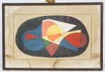 """JORONE - Argentino. """"Composição"""", guache s/papel , 23 x 40 cm. (NO ESTADO. marcas do tempo). Assinado no CID. Emoldurado com vidro, 36 x 52 cm."""