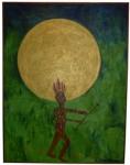 """AUGUSTO HERKENHOFF. """" Promessa """", óleo s/tela medindo, 247 x 186 cm. Assinado e datado, 2008 e no verso.Poemas Cariocas José Francisco Rodrigues"""