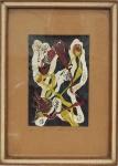 """MARGARET SPENCE. """"Abstrato"""", óleo s/papel, 15 x 10 cm. Artista citada do I Salão Nacional de Arte Moderna de 1952. Assinado e datado, Rio, 52. Emoldurado com vidro, 27 x 19 cm."""