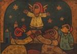 """RAIMUNDO DE OLIVEIRA . """"Anjo"""", óleo s/madeira 45 x 59 cm. Assinado e datado , 1960."""