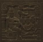 Cena budista , peça do Extremo Oriente em pedra, 40 x 40 cm. Cultura Gandara. Emoldurado, 49 x 49 cm.