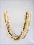 Semi-jóia - Colar com 10 fios, em mini pérolas, em diversas tonalidades, medindo 43cm.