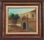 """ROBERTO DE SOUZA. """"Forte"""", óleo s/madeira, 24 x 26 cm. Assinado no cid. Emoldurado, 39 x 43 cm"""