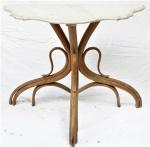 Console estilo austríaco de madeira nobre com tampo de mármore Carrara(no estado). Medidas 72 x 92 x 35 cm.