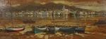 """ARMANDO ROMANELLI. """"Região dos Lagos"""",  óleo s/placa de madeira industrializada, 60 x 165 cm. Assinado no CIE. Emoldurado, 92 x 196 cm."""