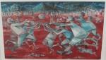 """ENRICO BIANCO. """"Brincando com bola"""", óleo s/tela, 64 x 108 cm. Assinado e datado  no CID, 2009. Emoldurado, 79 x 123 cm."""