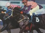 "ROBERTO DE SOUZA. ""Corrida de cavalos"", óleo s/tela, 58 x 77 cm. Assinado. Emoldurado, 88 x 107 cm."