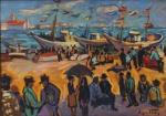 """SERGIO TELlES. """"Marinha com figuras"""", óleo s/cartão , 35 x 50 cm. Assinado no CID. Emoldurado, 60 x 70 cm."""
