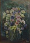"""WEGA NERY. """"Vaso de flores"""", óleo s/tela, 70 x 50 cm. Assinado e datado no CID, 1991. Emoldurado, 100 x 78 cm."""