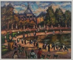 """SERGIO TELLES . """"Paisagem de Paris""""m óleo s/tela colado , 50 x 60 cm. Assinado e datado no CID, 2009. Emoldurado, 87 x 95 cm."""