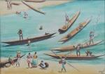 """Carybé (Lanús, Argentina 1911 - Salvador BA 1997) - """"Pescadores"""", vinil sobre cartão colado em eucatex, assinado c.i.d. datado 92. Medidas tela 35,5 x 50 cm, moldura 61 x 75 cm."""