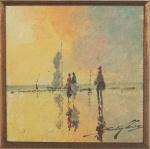 """Sansão Pereira - """"Marinha com figuras"""", óleo sobre tela juta, assinado c.i.d. Medidas 20 x 20 cm, moldura 45 x 45 cm."""