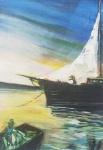"""Paulo melo - """"Pescadores"""", óleo sobre tela, assinado c.i.d. e verso e datado 1982. Medidas 67 x 47 cm, moldura 85 x 65 cm."""