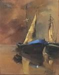 """Ana carvalhedo - """"barcos ao mar"""", óleo sobre tela, assinado c.i.d. e verso. Medida 40 x 32 cm, moldura 59,5 x 51,5 cm."""
