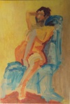 """BARCELLOS - """"  Nú Feminino"""" óleo s/ eucatéx, assinatura no CID, medindo 86x59 cm c/ moldura 92x65 cm"""