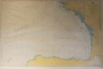 Grande mapa emoldurado em vidro, medindo 72x104 cm