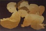"""CHECCACCI - """" Anjos Travessos"""" serigrafia, tiragem 98/99, assinado no CID, datado de 1983, medindo 5/x80 cm, c/ moldura 74x94 cm ( c/ fungos)"""