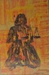 """JORA PINO - """" Justiça"""" técnica mista, assinado no CID, datado e localizado - Corumbá 79, medindo 32x20 cm, c/ moldura envidraçada 45x34 cm"""