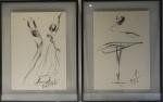 """Auto não identificado - """" dançarinos"""" cera s/ cartão, assinado e datado de 84, medidas 42x29 cm, c/ moldura envidraçada  56x43 cm"""