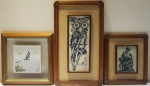 Lote com 3 quadros decorativos em porcelana,  ( ladrilho emoldurado) medindo 39x33cm, 39x39 cm, 62x36 cm