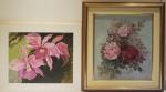 Lote com 2 quadros decorativos, pintura floral, medindo 57x61 cm e 68x62 cm
