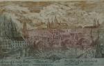 """J. HELY PRAGA. """"Veduta del Ponte Carlo"""",  E.A. original Acgua forte, Praga, 50 x 80 cm. Assinado. Emoldurado com vidro, 66 x 98 cm."""