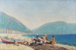 """REGINA VEIGA. """"Colonia de pescadores em Copacabana- Rio de Janeiro"""", óleo s/tela, 60 x 90 cm. Cerca 1940, assinado no CID. Emoldurado, 96 x 125 cm."""