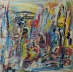 """CLAUDIO KUPERMAN. """"Absatrato"""", óleo s/tela, 80 x 80 cm. Assinado e datado , frente e verso, 83. Sem moldura."""