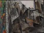"""TAKASHI. """"Urbano"""", óleo s/tela,  60 x 80 cm. Assinado, intitulado e datado , frente e verso, 1988. Emoldurado, 63 x 83 cm."""