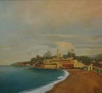 """AUGUSTE PETIT. """"Vista do Rio de Janeiro"""", óleo s/tela, 90 x 100 cm. Assinado. Emoldurado, 109 x 120 cm."""