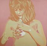 """NEWTON MESQUITA. """" O Grande Nú Brasileiro"""", acrílico s/tela,  100 x 100 cm. Assinado, intitulado e datado, frente e verso, 1981. Cache da Galeria de Arte Realidade. Emoldurado, 107 x 107 cm."""