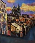 """SHIRAI.""""Salvador"""", óleo s/tela,  60 x 50 cm. Assinado, intitulado e datado, frente e verso, 86. Emoldurado, 84 x 74 cm."""