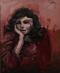 """ALBERY. Figura feminina"""", óleo s/tela, 65 x 54 cm. Assinado no CSD e verso , datado, Rio 1/6/81. Emoldurado, 85 x 75 cm."""