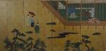 Painel japonês do século XIX, decorado com personagens e jardins em Kioto, medindo 92 x 180 cm.