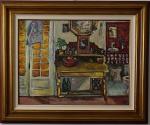 """ALBERTO NICOLAU. """"Paisagem """",  óleo s/cartão,  60 x 77 cm. Assinado, frente e verso, e datado, Paris, 85. Emoldurado, 85 x 103 cm."""