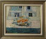 """ALBERTO NICOLAU. """"Natureza morta"""", óleo s/tela,  64 x 80 cm. Assinado frente e verso, e datado, 87. Emoldurado, 91 x 106 cm."""