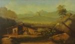 """VINET. """"Rio de Janeiro ao entardecer"""", óleo s/madeira , 50 x 80 cm. Assinado no CID. Emoldurado, 88 x 120 cm."""