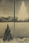 ELIANE SOARES - 4 paisagens, crayon, assinado e datado 1978, medindo 15x10 cm cada, moldura c/ vidro 38x28 cm