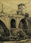 RUI CAMPELLO -  Paisagem Roma, desnho assinado, localizado e datado - Roma 1949 - medindo 33x23 cm, emoldurado c/ vidro 44x34 cm